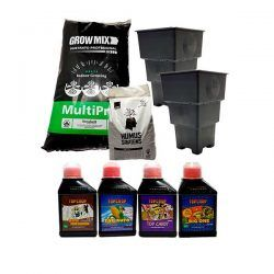 Combo Sustrato Grow Mix, Macetas Roots House y Fertilizantes Top Crop